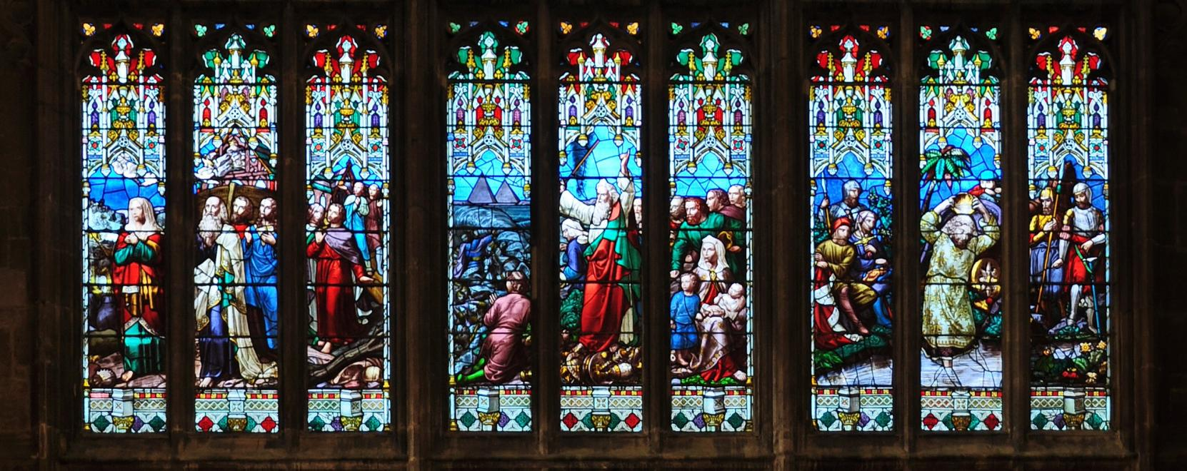 Detail from the west window at Gloucester Cathedral